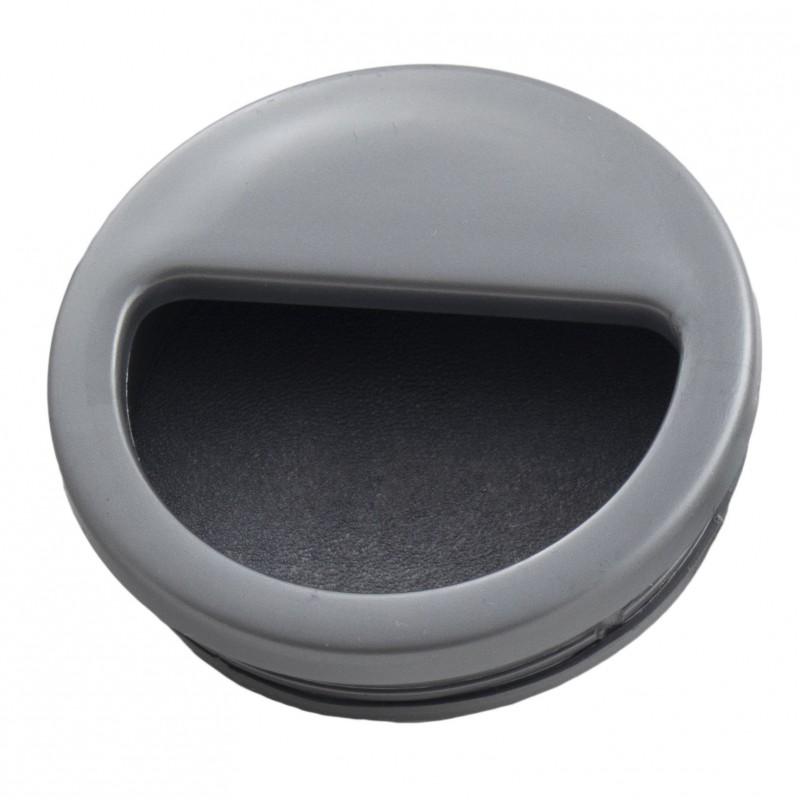 Мебельная ручка врезная круглая d=50 мм серый металлик