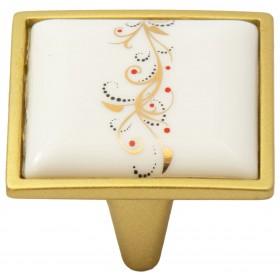 Ручка-керамика 5352-04/041 - 32 мм матовое золото-лоза