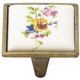 Ручка-керамика 5352-08/042 - 32 мм бронза-цветы