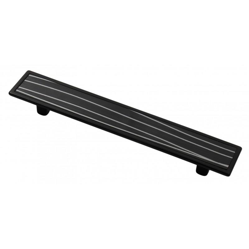 Мебельная ручка 5420-012/076 - 128 мм черная-черная с полосами