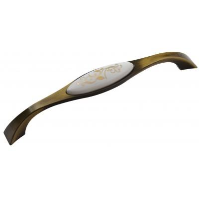 Мебельная ручка Reyhan 6008 - 160 мм бронза-золотые листья
