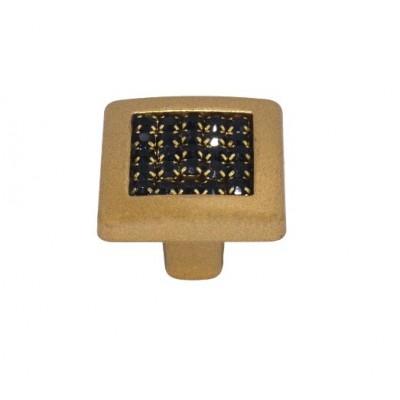 Ручка 6065-04/04-011 матовое золото с черными камнями