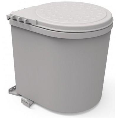 Ведро мусорное серое PP11LT пластик, 11 литров, Mesan (Турция)