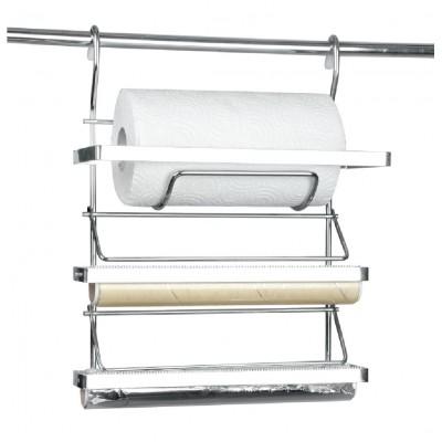 Полка на релинг тройная для бумаги, фольги (Турция) хром