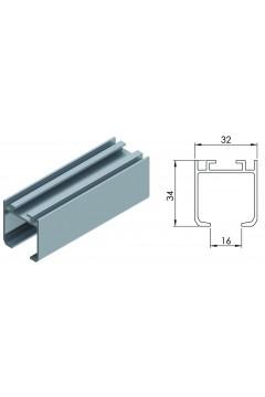 Направляющая для раздвижной системы для межкомнатных дверей Lucido LC 65 (2 метра, вес до 65 кг)