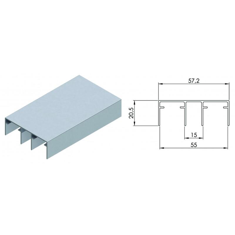 Направляющая верхняя для раздвижной системы для шкафов купе LC 75AY UK K (3 метра, вес до 75 кг)