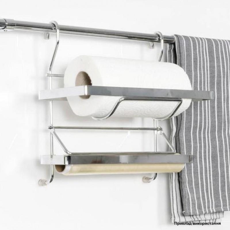 Полка на релинг двойная для бумаги (Турция) хром