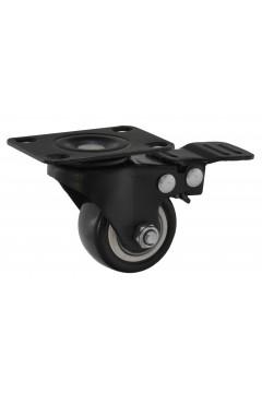 Мебельный ролик 505 - d=40 мм с площадкой, с тормозом, черный