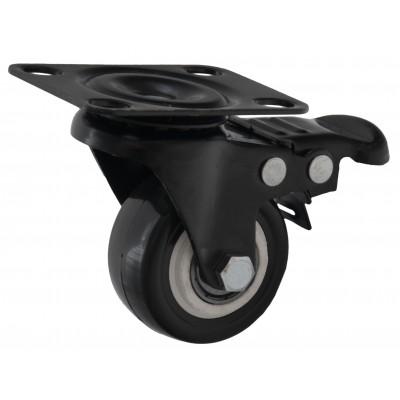 Мебельный ролик 506 - d=50 мм с площадкой, с тормозом, черный