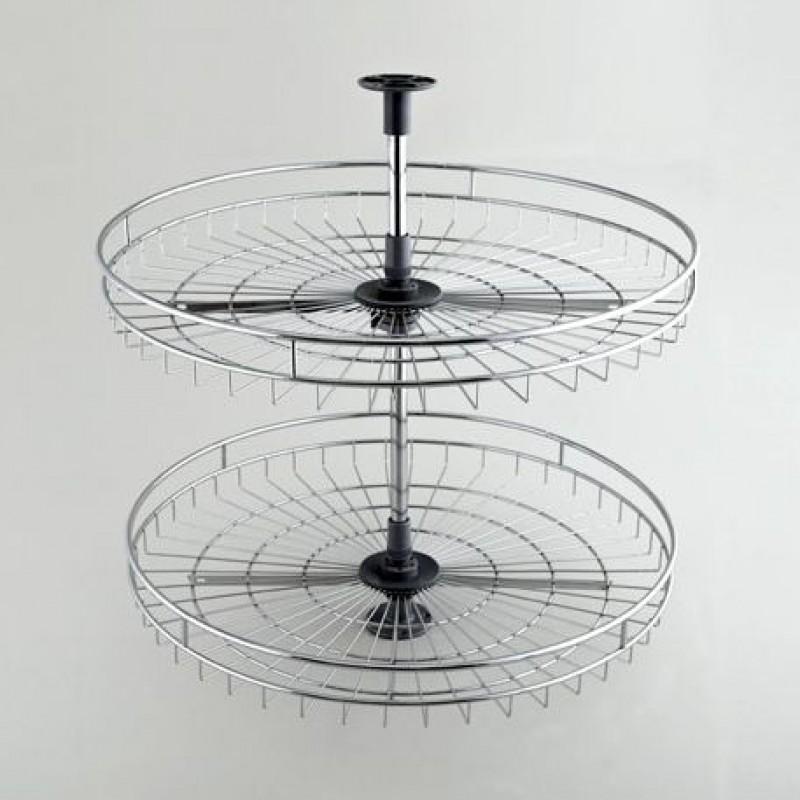 Корзина-карусель поворотная Cagdas двойная (ШК=45 см, В=70 см) Хром